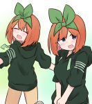 1girl :d ^_^ bangs blue_eyes blush breasts brown_pants closed_eyes drawstring eyebrows_behind_hair go-toubun_no_hanayome green_hoodie green_ribbon hair_over_one_eye hair_ribbon highres hood hood_down hoodie kujou_karasuma medium_breasts multiple_views nakano_yotsuba open_mouth orange_hair pants ribbon short_sleeves smile