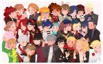 6+boys 6+girls absurdres aegis_(persona) akechi_gorou amada_ken amagi_yukiko amamiya_ren aragaki_shinjirou cat dog everyone female_protagonist_(persona_3) gekkoukan_high_school_uniform glasses hanamura_yousuke hat highres iori_junpei kirijou_mitsuru kitagawa_yuusuke koromaru kujikawa_rise kuma_(persona_4) looking_at_viewer morgana_(persona_5) multiple_boys multiple_girls narukami_yuu niijima_makoto okumura_haru persona persona_3 persona_3_portable persona_4 persona_5 persona_5_the_royal sakamoto_ryuuji sakura_futaba sanada_akihiko satonaka_chie school_uniform shirogane_naoto shuujin_academy_uniform smile sodapeche takamaki_anne takeba_yukari tatsumi_kanji yamagishi_fuuka yasogami_school_uniform yoshizawa_kasumi yuuki_makoto