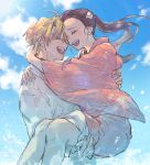 1boy 1girl agatsuma_zenitsu blonde_hair blue_sky carrying closed_eyes couple forehead-to-forehead happy hetero honwaka_zz japanese_clothes kamado_nezuko kimetsu_no_yaiba long_hair open_mouth sky smile water wide_sleeves