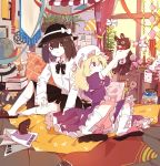 alternate_costume animal_slippers bear_slippers bunny_slippers candy_jar fedora globe harrybeace hat highres indoors lamp magazine maribel_hearn mob_cap pillow single_slipper slippers socks stuffed_animal stuffed_toy teddy_bear touhou usami_renko window