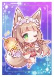 1girl animal_ear_fluff animal_ears blue_background blush border chibi commentary_request eyebrows_visible_through_hair finger_to_cheek fox_ears fox_girl fox_tail gradient gradient_background green_eyes hair_between_eyes holding holding_umbrella japanese_clothes kimono leg_up light_brown_hair long_sleeves looking_at_viewer maho_(princess_connect!) maid_headdress obi one_eye_closed orange_kimono princess_connect! princess_connect!_re:dive purple_background ryuuka_sane sash solo sparkle starry_background tail umbrella wa_maid wide_sleeves