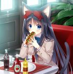 1girl animal_ears beige_blazer black_hair blazer blue_eyes blush bottle bow bowtie breasts cat_ears cat_girl cat_tail checkered checkered_floor coca-cola collared_shirt commentary_request dated diner eating eyebrows_visible_through_hair food glasses hair_between_eyes hair_bow hair_over_shoulder holding holding_food hot_dog indoors jacket ketchup_bottle long_hair long_sleeves looking_at_viewer medium_breasts mustard original plant plate ryuuga_shou school_uniform shirt signature sitting solo table tail very_long_hair white_shirt