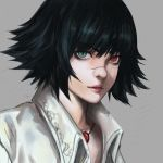 1girl black_hair closed_mouth devil_may_cry devil_may_cry_3 face facial_scar green_eyes grey_background heterochromia highres jewelry lady_(devil_may_cry) necklace nose_scar red_eyes red_lips rye_(hyn_uka) scar short_hair simple_background solo upper_body