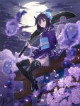 1girl black_hair cherry_blossoms clouds cloudy_sky commentary_request eyebrows_visible_through_hair floral_print hair_ornament highres hitodama horns japanese_clothes kimono looking_at_viewer medium_hair moon night original over_shoulder sandals sash short_kimono sitting skull sky smile solo sword thigh-highs violet_eyes wasabi60 weapon weapon_over_shoulder