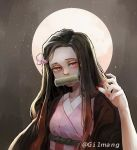 1girl bamboo black_hair fingernails gilmang japanese_clothes kamado_nezuko kimetsu_no_yaiba kimono long_hair looking_at_viewer moon oni pink_kimono pink_ribbon red_eyes red_nails ribbon rope_belt sharp_fingernails slit_pupils