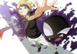 1boy absurdres blonde_hair commentary_request film_grain gastly gen_1_pokemon ghost gym_leader hand_in_pocket headband highres huge_filesize long_sleeves looking_at_viewer matsuba_(pokemon) outstretched_arm pants perspective pokemon pokemon_(creature) pokemon_(game) pokemon_hgss purple_headband purple_scarf scarf short_hair smile spread_fingers standing tamaru_(user_nkxd4384) teeth violet_eyes white_background white_pants