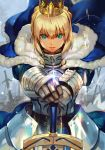 1girl armor armored_dress artoria_pendragon_(all) blonde_hair blue_cloak blue_dress blue_ribbon cloak commentary crown dress english_commentary facing_viewer fate/stay_night fate_(series) faulds field_of_blades fur-trimmed_cloak fur_trim gauntlets green_eyes hair_ribbon hankuri highres lens_flare looking_at_viewer planted_sword planted_weapon ribbon saber solo sword weapon