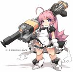 1girl ahoge android doll expressionless gatling_gun gloves gun hoihoi-san holding holding_gun holding_weapon ichigeki_sacchuu!!_hoihoi-san karukan_(monjya) long_hair maid pink_hair science_fiction solo violet_eyes weapon white_background white_gloves