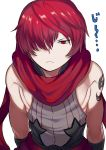 1boy fate/grand_order fate_(series) fuuma_kotarou_(fate/grand_order) hair_over_one_eye highres leaning_forward male_focus red_eyes red_scarf redhead scarf shoulder_tattoo sleeveless staring tattoo tetsu_(teppei)