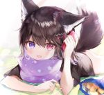 1girl :d animal_ears bag_of_chips black_shirt blue_eyes brown_hair cellphone chips commentary_request fang food heterochromia highres holding holding_phone lying medium_hair naked_shirt on_stomach open_mouth original phone pillow red_eyes rukako shirt short_sleeves skin_fang smartphone smile tail wolf_ears wolf_tail yoyogi_(rukako)