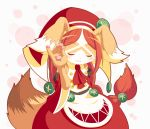 1girl animal_ears bare_shoulders blush brown_fur brown_hair chantico_(fullbokko_heroes) closed_eyes commentary_request cowboy_shot detached_sleeves dog dog_ears dog_girl fullbokko_heroes furry headwear long_hair long_sleeves meme neru_(neruneruru) pawpads red_sleeves simple_background smug solo two-tone_fur white_background white_fur