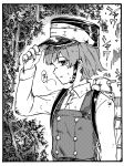 1girl adjusting_clothes adjusting_hat arare_(kantai_collection) bangs buttons collared_shirt commentary dirty dirty_clothes dirty_face dodomori dress eyebrows_visible_through_hair forest greyscale hat highres kantai_collection long_sleeves machinery monochrome nature outdoors peaked_cap pinafore_dress rigging shirt short_hair smokestack solo strap sweat translated tree turret upper_body weapon