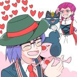 1boy atsumi_yoshioka blush closed_eyes gen_4_pokemon hat heart kojirou_(pokemon) mime_jr. musashi_(pokemon) pokemon pokemon_(anime) pokemon_(creature) smile