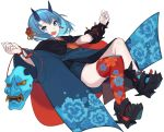 1girl :d bangs black_footwear blue_eyes blue_hair blue_horns blue_kimono boots chorefuji fingernails floral_print full_body horns japanese_clothes kimono looking_at_viewer oni_mask open_mouth original pointy_ears red_legwear shiny shiny_hair simple_background single_thighhigh smile solo thigh-highs white_background