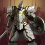 armor breastplate damegane full_armor gauntlets helmet holding holding_sword holding_weapon leg_armor original pauldrons plate_armor shield shoulder_armor simple_background sword weapon