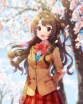1girl :d arm_at_side arm_behind_back bangs blue_sky blurry blurry_background bow bowtie breasts brown_eyes brown_hair brown_jacket cherry_blossoms collared_shirt commentary_request cowboy_shot day depth_of_field dress_shirt eyebrows_visible_through_hair highres idolmaster idolmaster_cinderella_girls jacket korean_commentary lens_flare light_particles light_rays long_hair long_sleeves looking_at_viewer medium_breasts one_side_up open_mouth outdoors petals pinkiepies2 plaid plaid_skirt pleated_skirt red_neckwear red_skirt school_uniform shimamura_uzuki shirt skirt sky smile solo standing tree wavy_hair white_shirt