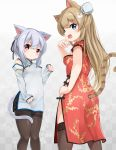 2girls animal_ears bangs black_ribbon blue_eyes blush braid breasts brown_hair brown_legwear cat_ears cat_girl cat_tail china_dress chinese_clothes closed_mouth commentary_request detached_sleeves dress eyebrows_visible_through_hair hair_between_eyes hair_ribbon hand_up highres long_hair long_sleeves looking_at_viewer medium_breasts multiple_girls original pantyhose paw_pose red_dress red_eyes ribbon short_sleeves silver_hair sleeveless sleeveless_dress sleeves_past_wrists smile sora_(silent_square) striped_tail tail thigh-highs thighband_pantyhose very_long_hair white_dress white_sleeves