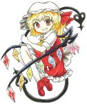bangs blonde_hair bow chups crystal dress eyebrows_visible_through_hair fang flandre_scarlet frilled_dress frills highres holding looking_at_viewer medium_hair red_bow red_dress red_eyes red_footwear short_sleeves side_ponytail simple_background sketch touhou white_background white_bow white_frills white_legwear white_sleeves wings yellow_neckwear