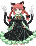 animal_ears black_bow black_dress black_tail bow braid cat_ears cat_tail chups cowboy_shot dress extra_ears eyebrows_visible_through_hair fang frilled_dress frilled_skirt frilled_sleeves frills green_frills hands_on_hips highres kaenbyou_rin looking_at_viewer multiple_tails red_eyes red_nails red_neckwear redhead simple_background skirt tail touhou twin_braids two_tails white_background