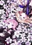2girls bangs bare_shoulders black_gloves blonde_hair double_bun field fingerless_gloves flower flower_field gloves highres himehina_channel konati_e lily_(flower) long_hair looking_at_viewer lying multicolored_hair multiple_girls navel on_back open_mouth pink_hair short_sleeves sidelocks sleeveless smile streaked_hair suzuki_hina tanaka_hime violet_eyes virtual_youtuber