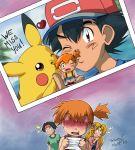 blush chibi gen_1_pokemon highres kasumi_(pokemon) miyatoriaka photo_(object) pikachu satoshi_(pokemon)
