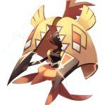 beak black_eyes black_skin blue_sclera chorefuji claws electricity gen_7_pokemon legendary_pokemon no_humans plume pokemon pokemon_(creature) simple_background solo spines tapu_koko white_background
