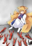 1girl against_wall animal animal_ears blonde_hair corner crab dress fang floor fox_ears fox_tail hands_in_opposite_sleeves hiding highres kitsune kyuubi lobster multiple_tails scared short_hair solo sunaguma tabard tail touhou trembling white_dress yakumo_ran