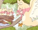+_+ 5girls ^_^ animal_ear_fluff animal_ears animalization bangs bird bird_nest blurry blurry_background blush closed_eyes day depth_of_field earthworm eyebrows_visible_through_hair fox_ears fox_tail hair_between_eyes kemomimi-chan_(naga_u) mouth_hold multiple_girls naga_u original outdoors red_eyes sparkle spring_onion tail tree