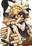 1girl absurdres artist_name black_dress blonde_hair book book_stack braid cup dress eyebrows_visible_through_hair flip-flops grin hat highres holding holding_book kirisame_marisa lamp looking_at_viewer mug puffy_short_sleeves puffy_sleeves sandals shoe_dangle short_sleeves sitting_on_books smile solo suergamefreako touhou witch witch_hat yellow_eyes