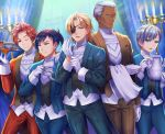 5boys adjusting_clothes adjusting_gloves arm_across_waist ashe_ubert black_hair blonde_hair blue_eyes blue_suit brown_eyes brown_suit candle candlestand cup curtains dark_skin dark_skinned_male dedue_molinaro dessert dimitri_alexandre_blaiddyd eyepatch felix_hugo_fraldarius fire_emblem fire_emblem:_three_houses food fork formal gloves green_eyes hair_over_one_eye hand_up holding holding_tray indoors knife multiple_boys one_eye_closed pocket_square red_suit redhead silver_hair smile smk023 standing suit sylvain_jose_gautier teacup teapot towel tray vest waiter white_hair