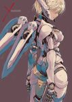1girl blonde_hair breasts brown_background copyright_name cyborg fiorun hidden_eyes highres joints mechanical_wings muramasa_mikado robot_joints short_hair wings xenoblade_(series) xenoblade_1