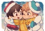 2boys acorn brown_eyes brown_hair buck_teeth chip_(disney) dale_(disney) disney eyebrows_visible_through_hair kiri_futoshi light_brown_hair male_focus multiple_boys open_mouth personification plaid plaid_scarf red_headwear scarf shared_scarf smile winter_clothes