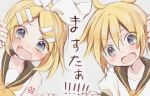 1boy 1girl bangs bare_shoulders black_collar blonde_hair blue_eyes blush bow brother_and_sister collar commentary crying crying_with_eyes_open fang fourth_wall furrowed_eyebrows hair_bow hair_ornament hairclip highres hitode kagamine_len kagamine_rin neckerchief necktie open_mouth sailor_collar school_uniform shirt short_hair short_ponytail short_sleeves shoulder_tattoo siblings sleeveless sleeveless_shirt spiky_hair swept_bangs tattoo tears translated twins upper_body vocaloid white_bow white_shirt yellow_neckwear