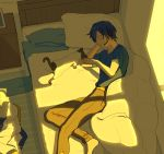 1boy arm_support barefoot bed blanket blue_eyes blue_hair blue_scarf blue_shirt brown_pants cat coat coat_removed commentary from_above head_rest headset kaito looking_at_animal lying male_focus nokuhashi on_side pants pillow scarf scarf_removed shirt short_sleeves sunlight vocaloid white_cat white_coat window