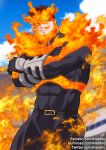 1boy abs bara beard belt blurry blurry_background bodysuit boku_no_hero_academia clouds cloudy_sky covered_abs crossed_arms embers facial_hair fire gloves gumroad_username kienbiu long_sleeves looking_at_viewer male_focus manly muscle patreon_username simple_background sky solo tight todoroki_enji toned toned_male twitter_username upper_body