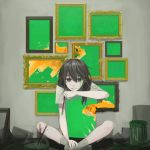 1girl absurdres brown_eyes brown_hair brown_legwear chin_rest commentary crowcrycaw fish fishbowl glitch goldfish grin hair_between_eyes hand_on_own_chin highres holding holding_paintbrush indian_style indoors korean_commentary long_hair looking_at_viewer messy messy_hair messy_room on_floor original paint_can paint_on_face paintbrush painting_(object) picture_frame shirt shorts sitting smile socks solo t-shirt tree white_shirt
