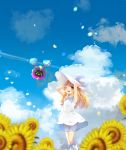 1girl bangs blonde_hair blush braid clouds commentary_request cosmog day dress flower gen_7_pokemon green_eyes hands_on_headwear hat highres legendary_pokemon lillie_(pokemon) long_hair one_eye_closed open_mouth ore_(pink2521) outdoors petals pokemon pokemon_(creature) pokemon_(game) pokemon_sm sky sleeveless sleeveless_dress smile socks sun_hat sunflower twin_braids white_dress white_headwear