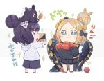 +_+ 2girls :3 :d abigail_williams_(fate/grand_order) animal_on_head apple bangs black_bow black_footwear black_jacket black_shorts blue_eyes blush bow chibi closed_mouth commentary_request fate/grand_order fate_(series) food fruit grey_hoodie hair_bow hair_bun heroic_spirit_traveling_outfit highres hishaku hood hood_down hoodie jacket katsushika_hokusai_(fate/grand_order) light_brown_hair long_sleeves multiple_girls object_hug octopus on_head open_mouth orange_bow parted_bangs polka_dot polka_dot_bow profile red_apple red_footwear shorts simple_background sleeves_past_fingers sleeves_past_wrists smile sparkle standing suction_cups tentacles tokitarou_(fate/grand_order) totatokeke translation_request white_background
