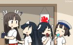 4girls alternate_costume black_hair bob_cut closed_eyes commentary_request daitou_(kantai_collection) dated ghost hair_over_one_eye hair_ribbon hamu_koutarou hat hayashimo_(kantai_collection) high_ponytail highres hime_cut hiyou_(kantai_collection) kantai_collection long_hair multiple_girls pants red_eyes red_pants ribbon sailor_hat shirt short_hair t-shirt track_pants very_long_hair white_headwear white_shirt