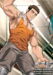 1boy arm_up armpit_hair armpits bara biceps brown_eyes brown_hair cable chest earrings gumroad_username gundam gundam_tekketsu_no_orphans holding jewelry kienbiu looking_at_viewer looking_down male_focus manly muscle norba_shino orange_tank_top pants patreon_username pectorals power_lines revealing_clothes smile solo standing tank_top towel twitter_username wire