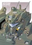 camera close-up from_above ground_vehicle looking_ahead mao_(6r) mecha mechanization military military_vehicle motor_vehicle no_humans one-eyed original solo tank type_10_(tank) visor