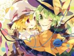 2girls :p :t black_headwear blonde_hair bow commentary_request crystal fingernails flandre_scarlet green_eyes green_hair hand_on_another's_chin hand_up hat hat_bow heart heart_in_eye heart_of_string highres komeiji_koishi long_fingernails long_sleeves looking_at_another mob_cap multiple_girls nikorashi-ka one_eye_closed polka_dot polka_dot_background red_eyes red_nails shirt short_hair side_ponytail symbol_in_eye third_eye tongue tongue_out touhou upper_body white_headwear white_shirt wide_sleeves wings wrist_cuffs yellow_bow yellow_shirt