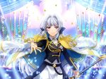 cape grey_hair jacket long_hair shoujo_kageki_revue_starlight smile sword violet_eyes yukishiro_akira