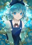 1girl bangs blue_bow blue_dress blue_eyes blue_flower blue_hair blue_theme bow cirno collared_shirt commentary_request dress flower glowing glowing_flower hair_bow highres ice joniko1110 looking_at_viewer pale_skin pinafore_dress puffy_short_sleeves puffy_sleeves red_neckwear red_ribbon ribbon shiny shiny_hair shirt short_hair short_sleeves smile snowflakes solo touhou upper_body white_flower white_shirt wing_collar