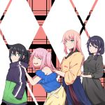 4girls :o alternate_hairstyle belt black_dress black_hair black_hoodie blue_shirt blue_skirt blush closed_eyes commentary_request dress eyebrows_visible_through_hair frilled_shirt frills from_side green_eyes green_hoodie hand_in_pocket hand_on_another's_shoulder highres hood hoodie katou_asuka kuroki_tomoko lineup long_hair long_skirt looking_at_viewer low_twintails mochamillll multicolored_hoodie multiple_girls nemoto_hina off-shoulder_shirt off_shoulder open_mouth orange_sweater pink_hair ponytail shirt skirt smile sweater tamura_yuri twintails two_side_up upper_teeth violet_eyes watashi_ga_motenai_no_wa_dou_kangaetemo_omaera_ga_warui! yellow_skirt |d