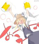 >_< 1girl @_@ aki_maki_yuu alcohol arms_up beer beer_mug blonde_hair blue_skirt blue_vest brown_headwear closed_eyes commentary_request cowboy_shot cup eighth_note hair_ribbon hat high_collar highres holding holding_cup long_hair moriya_suwako mug musical_note musical_note_in_mouth open_mouth red_ribbon ribbon shirt skirt touhou translated twitter_username vest white_background white_shirt wide_sleeves