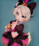1girl blue_background blue_eyes bow daisy_duck disney eyebrows_visible_through_hair eyeshadow feathers finger_to_mouth hair_bow hair_feathers jewelry kiri_futoshi makeup necklace personification purple_nails silver_hair smile solo star_(symbol) star_necklace starfish_hair_ornament