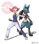 1girl artist_name bandaid bandaid_on_arm bandaid_on_nose barefoot bodysuit breasts clenched_hands commentary_request covered_navel eyelashes feet fighting_stance fingerless_gloves gen_4_pokemon gloves grey_pants highres kiaki_hiqagi legs_apart lucario open_mouth pants pink_hair poke_ball_symbol pokemon pokemon_(creature) pokemon_(game) pokemon_dppt shiny shiny_hair standing sumomo_(pokemon) teeth toes tongue upper_teeth watermark white_background