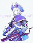 1girl androgynous armor blue_eyes capelet chainmail copyright_name dual_wielding gauntlets hat highres holding holding_weapon monster_hunter monster_hunter_4 monster_hunter_4_g nishihara_isao photoshop_(medium) short_hair silver_hair smile solo weapon