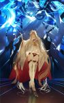 1boy 1girl absurdres bangs beard blonde_hair breasts cape crown dress europa_(fate/grand_order) facial_hair fate/grand_order fate_(series) full_body giant glowing glowing_eyes highres kuronoiparoma legs lightning long_hair long_sleeves off-shoulder_dress off_shoulder open_mouth pale_skin panties red_cape red_panties thigh-highs underwear very_long_hair violet_eyes white_dress white_hair white_legwear wide_sleeves zeus_(fate/grand_order)